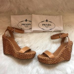 Authentic PRADA Woven Ankle Strap Wedges